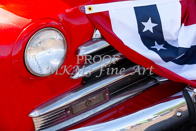 Red Classic Car and US Flag