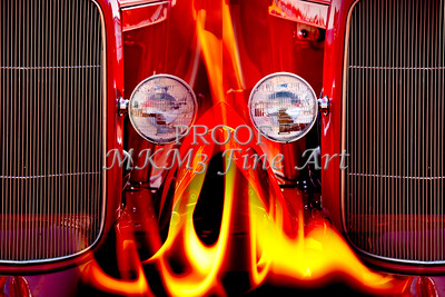 Red Classic Car Fire