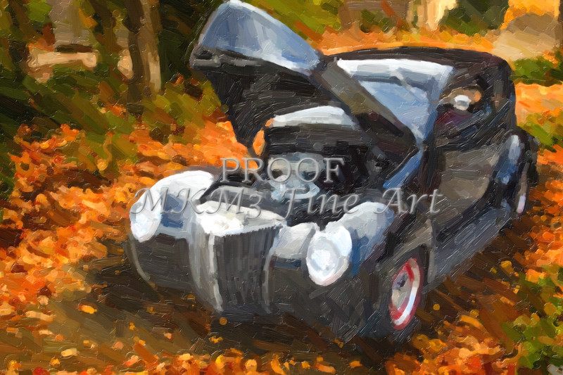 Painting of 1939 Ford Sedan Antique Classic Car 3418.02