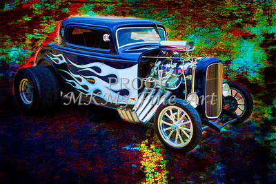 Painting 1932 Ford Highboy Automobile in Color  3124.02