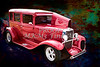 Painting 1929 Chevrolet Classic Car Automobile Color Red 3132.03