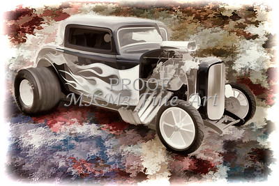 1932 Ford Highboy Automobile Painting in Color  3123.02
