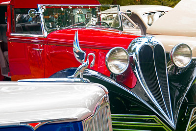 1931 Packard 160 and red 1936 Brewster Town Cabriolet D'ville