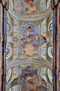 The three wonderful ceiling frescoes in Annakirche (St. Anne's Church) were restored in 1970. They were painted about 280 years ago by Daniel Gran, the same artist that painted the amazing ceilings in the National Library of Austria, previously featured.