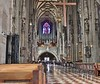 This is two images stitched together. The height of the St. Stephen's Cathedral interior is hard to capture when trying to include much of the beautiful floor as well.