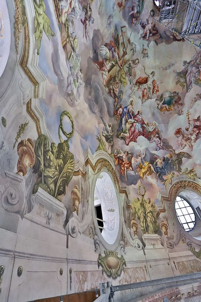 Vertical composition of the south section of dome frescoes. Taken from upper elevator landing platform.