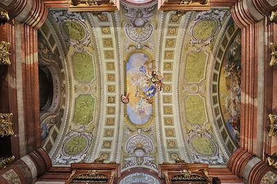 The ceiling of a side atrium in the Prunksaal, part of the National Library of Austria in Vienna.