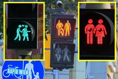 "The city of Vienna is having fun with a popular program to redesign pedestrian crossing lights in response to ""why is it always a guy up there?"" In addition to these figures they are randomly using Yoda, kangaroos, aliens, Neanderthals, gorillas, gay and lesbian couples, even Bart Simpson carrying a sword and shield. I love it. It gives you a ""box of chocolates"" moment as you approach a street but cannot yet see the symbols.."