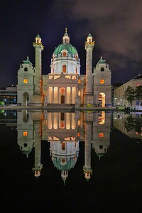 Zero wind speed and well-behaved visitors left the reflection pool at optimum smoothness for photos. St. Charles Cathedral, Vienna.