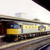 Dutch liveried 33057 and 33103 head westwards through Reading with a Departmental train on 4th September 1991