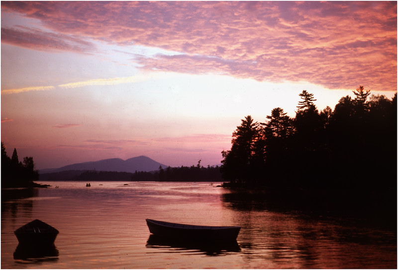 Adirondacks Forked Lake Sunset Landing Moored Rental Boats August 1976