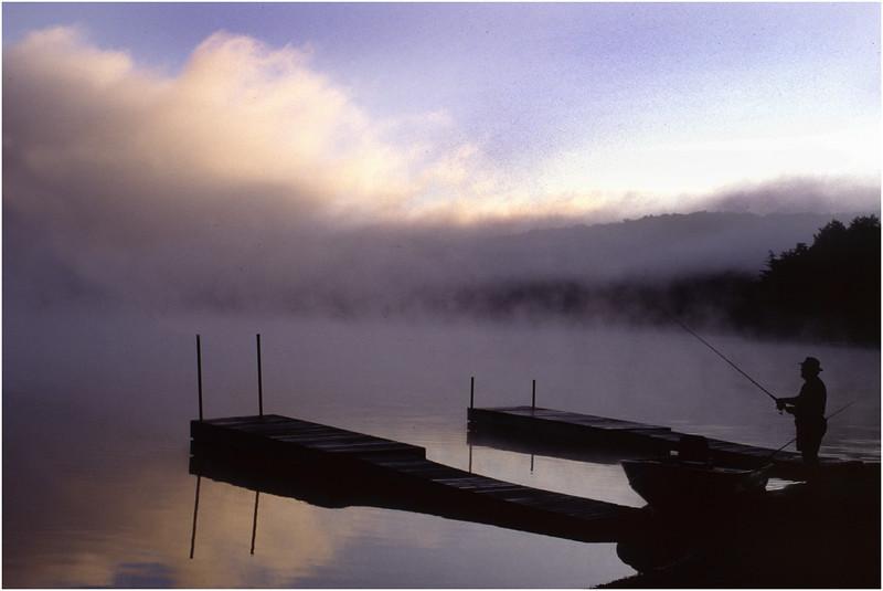 Adirondacks Eigth Lake Morning Dock Fisherman July 1996