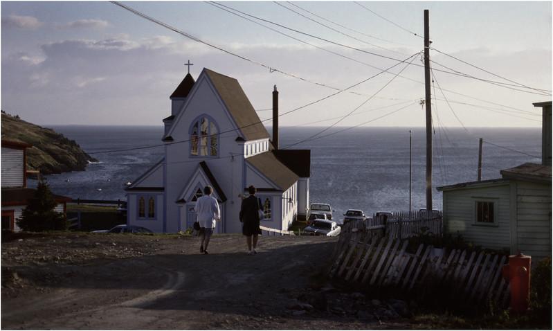 Upper Island Cove Newfoundland Canada Heading to Church October 1988