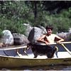 Adirondacks Forked Lake  Bluff Site Ron Stidnick Jr and Bucky in Canoe July 1979
