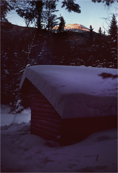 Adirondacks Lake Colden Lean-To with Alginquin January 1977