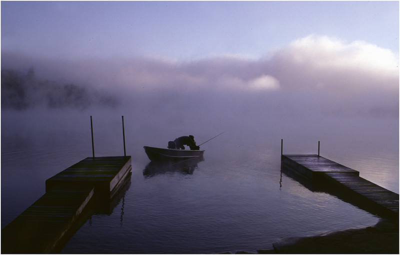 Adirondacks Eigth Lake Morning Dock Fisherman Boat July 1996