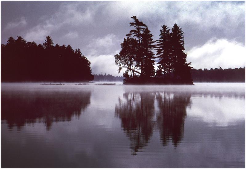 Adirondacks Forked Lake Morning Island Mist October 1984