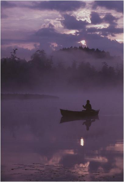 Adirondacks Forked Lake Mist Paddler Bob Goot 2 August 1979