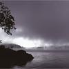 Adirondacks Long Lake Mist Canoe and Tree in Gray July 1981