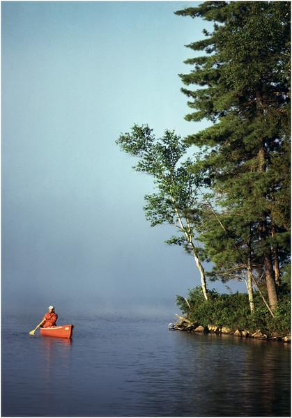 Adirondacks Forked Lake Paddling Past the Point  July 1984
