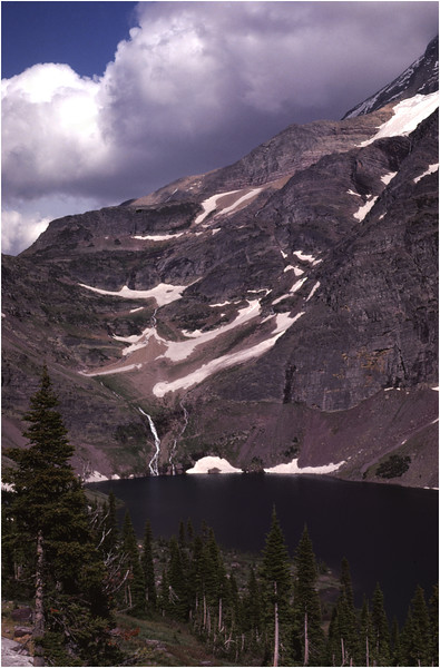 Glacier Park MT Lake Ellen Wilson from Sperry Cirque pass July 1980