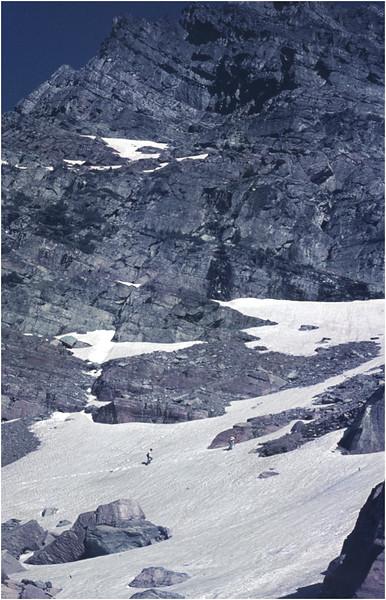 Glacier Park MT Hiker Ascending Gunsight Mt 2 July 1980