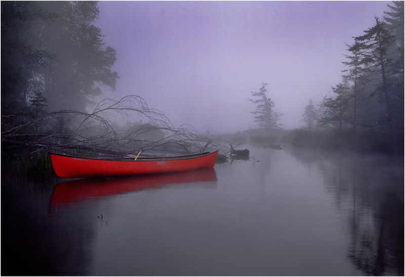 45 Adirondacks Forked Lake Brandreth Inlet Mist Red Canoe August 1999