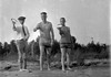ay Cortland & Stowell & maybe George Stebbins toss horse-shoes on beach