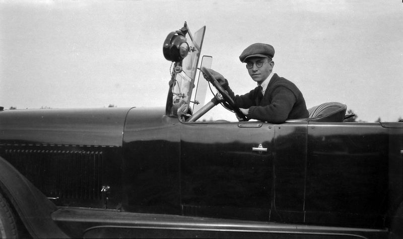 #14 Charles Rowland Stebbins in car - about 1922-ish