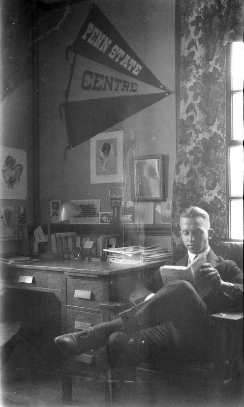 67b Rowland Stebbins at Dartmouth dormatory desk