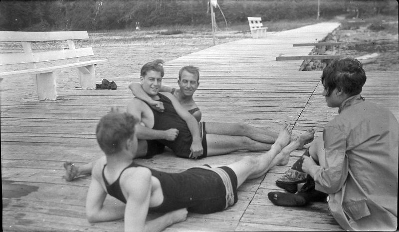 Bndl#24 #38a Rowland Stebbins clows with 2 men & one woman on Roaring Brook Assoc dock about 1926