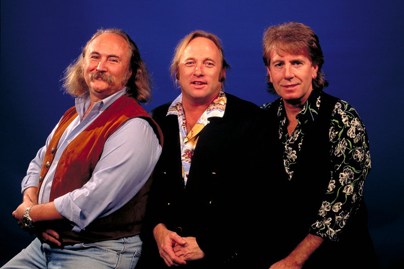 Crosby, Stills and Nash posing backstage at the Warfield Theater in San Francisco on November 23, 1991.