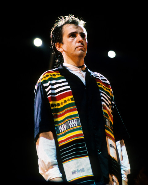 Peter Gabriel performs at the Amnesty International benefit concert at the Oakland Coliseum Stadium on Sept. 23, 1988.