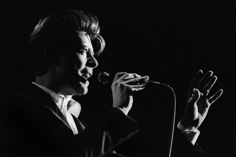 David Bowie performs at Shoreline Ampitheater in Mountain View, CA on May 28, 1990.
