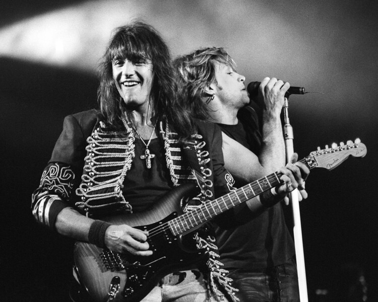 Richie Sambora and Jon Bon Jovi performing live at the Oakland Coliseum on March, 14, 1993.