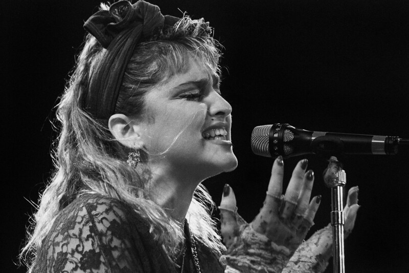 Madonna performs at the San Francisco Civic Center on April 23, 1985.