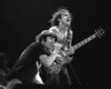 Brian Johnson and Angus Young performing with AC/DC at the Cow Palace in San Francisco on February 16, 1982.