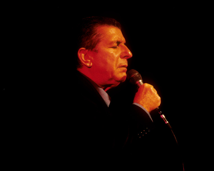 Leonard Cohen performing live on stage at the Warfield Theater in San Francisco on July 3, 1993.