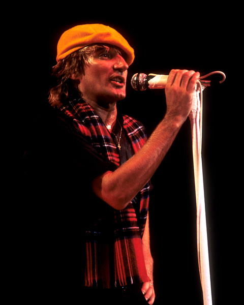 Rod Stewart performing live on stage at the Oakland Coliseum on November 10, 1984.