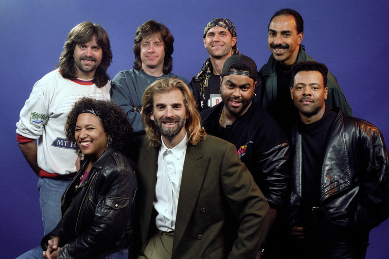 Kenny Loggins and his band, featuring Vicki Randle on percussion, backstage at the Warfield Theater in San Francisco on October 28, 1991.
