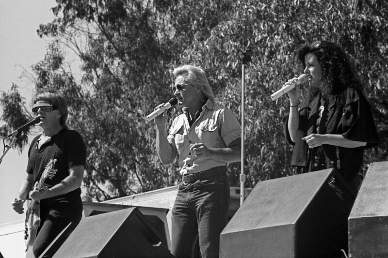 Jefferson Airplane perform a free concert in Golden Gate Park on September 30, 1989 on their reunion tour. Pictured: Paul Kantner, Marty Balin and Grace Slick.