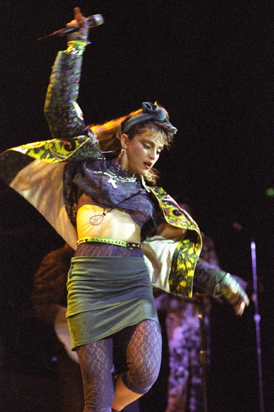 Madonna performing live on stage at the San Francisco Civic Auditorium on April 23, 1985.