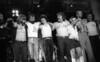 BERKELEY, CA-SEPTEMBER 11:  The Doobie Brothers perform at the Greek Theater in Berkeley, CA on September 11, 1982. (L-R: Chet McCracken, John McFee, Willie Weeks, Cornelius Bumpus, Michael McDonald, Keith Knudsen, Patrick Simmons, Tom Johnston, Bobby LaKind, Michael Hossack, unknown) (Photo by Clayton Call/Redferns)