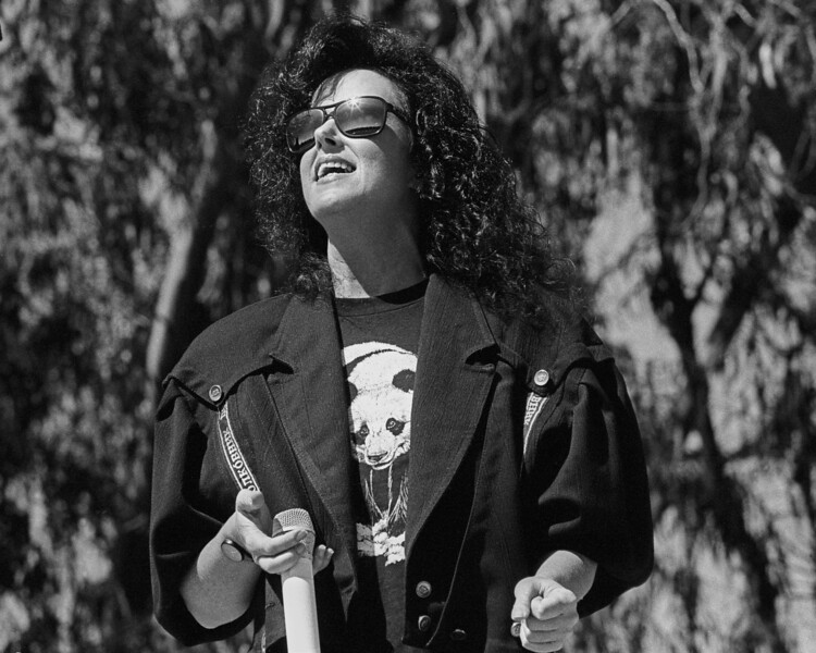 Grace Slick performs with Jefferson Airplane at Golden Gate Park in San Francisco on September 30, 1989.
