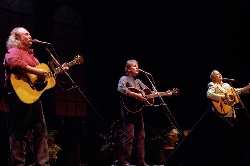 Crosby, Stills & Nash performing at the Warfield Theater in San Francisco on November 11, 1991.
