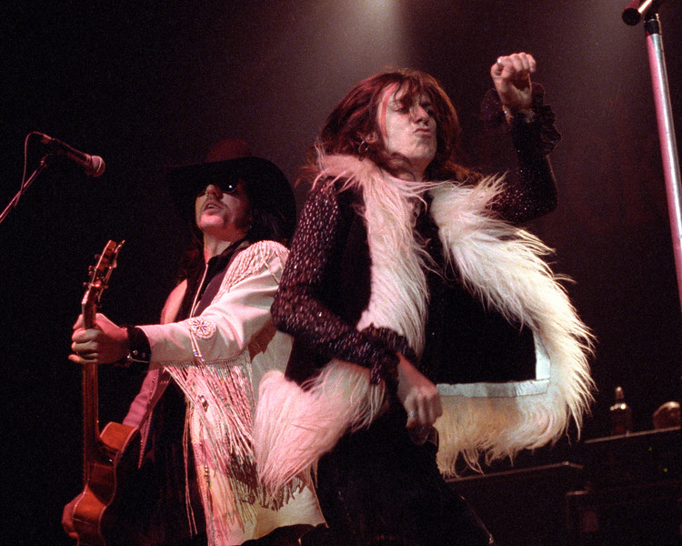 Johnny Colt and Chris Robinson performing live on stage at the Warfield Theater in San Francisco on June 5, 1991.