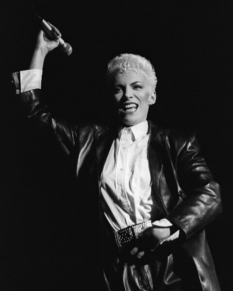 Annie Lennox performs with the Eurythmics at the Greek Theater in Berkeley in 1985.