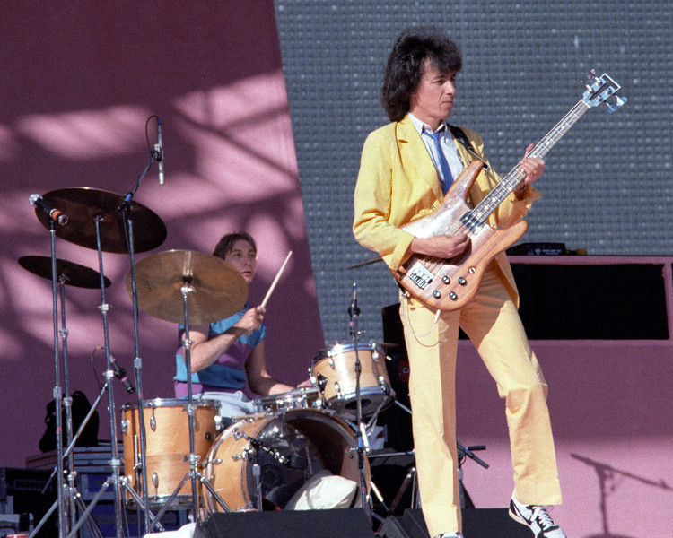 Charlie Watts and Bill Wyman perform with the Rolling Stones at Candlestick Park in San Francisco on October 17, 1981.