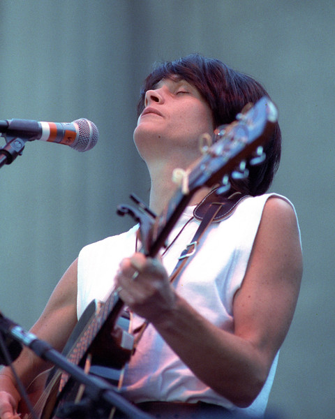 Shawn Colvin performs at the Bread & Roses Festival at the Greek Theater in Berkeley, CA in September 1991.