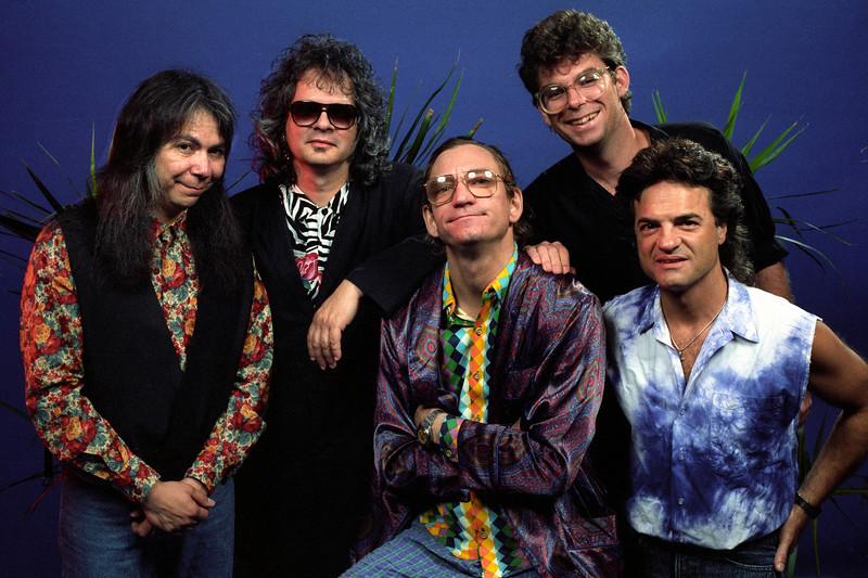 Joe Walsh and his band backstage at the Warfield Theater in San Francisco on September 6, 1991. {l-r): Kenny Passarelli, Al Kooper, Joe Walsh, unknown, Joe Vitale.